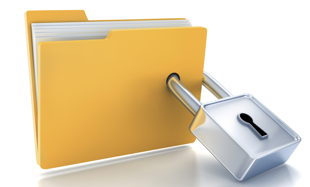 padlock through file folder